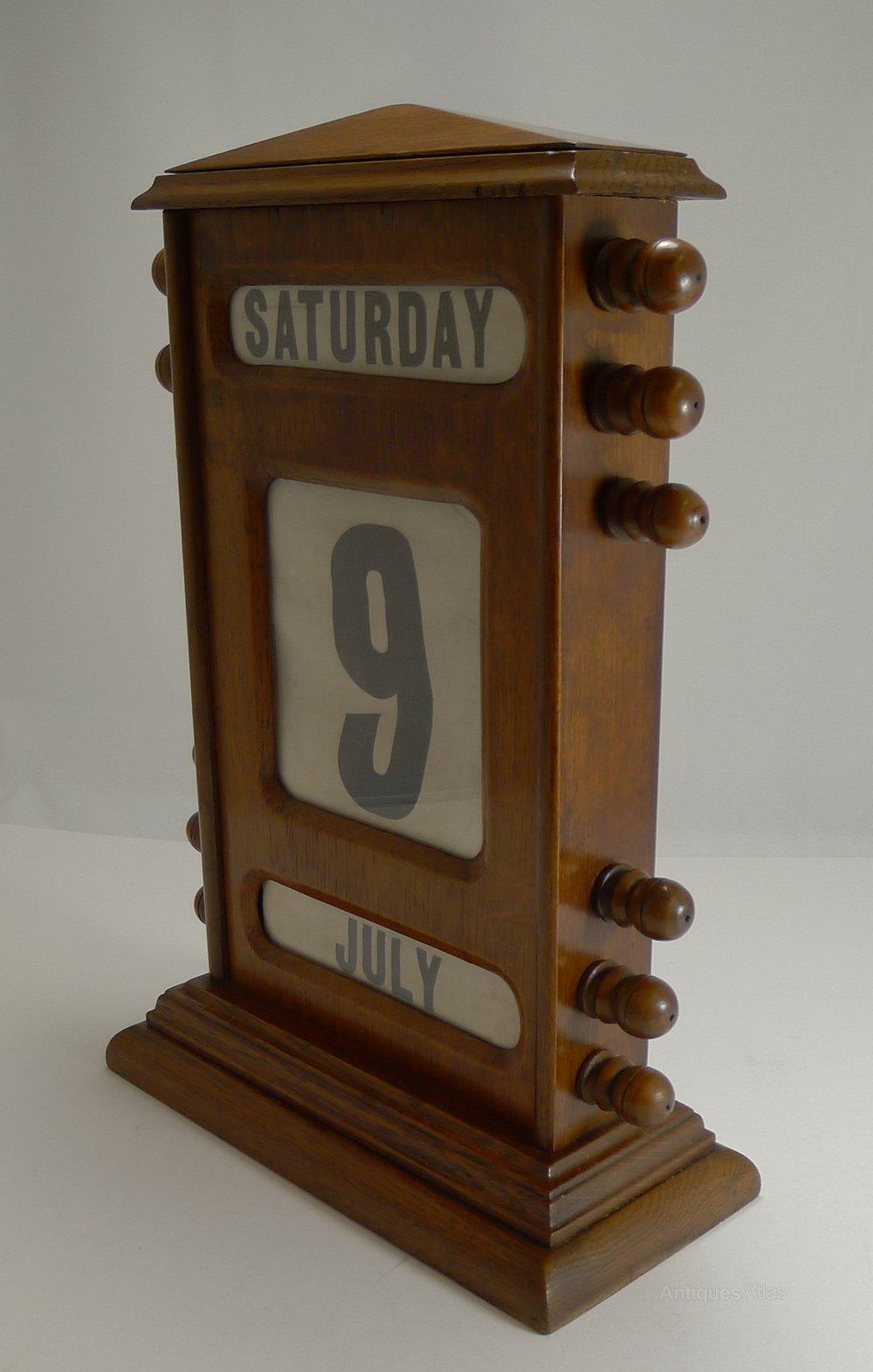 Oversized Victorian Perpetual Desk Calendar C 1890 Antique Furniture Accessories Vintage