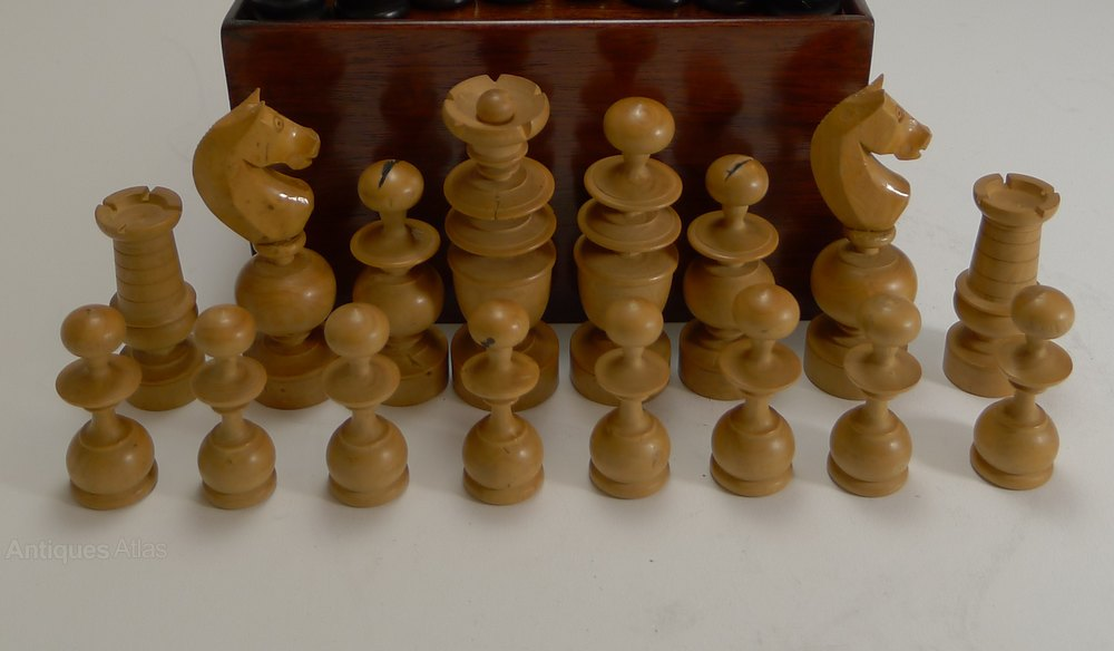 Antiques Atlas Regency Style Chess Set In Wooden Case