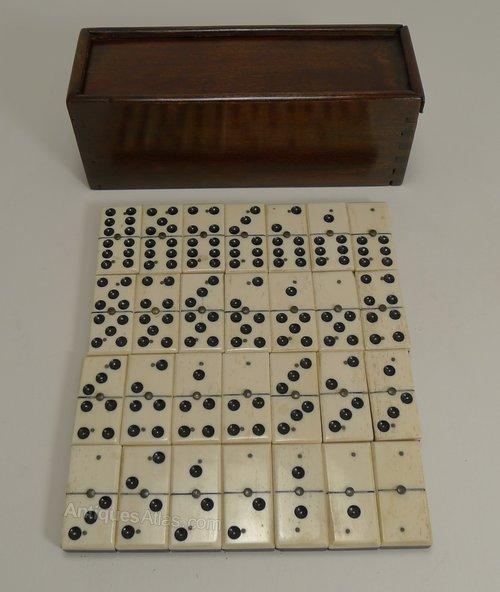 Antiques Atlas Set Bone Ebony Wood Dominoes C1890