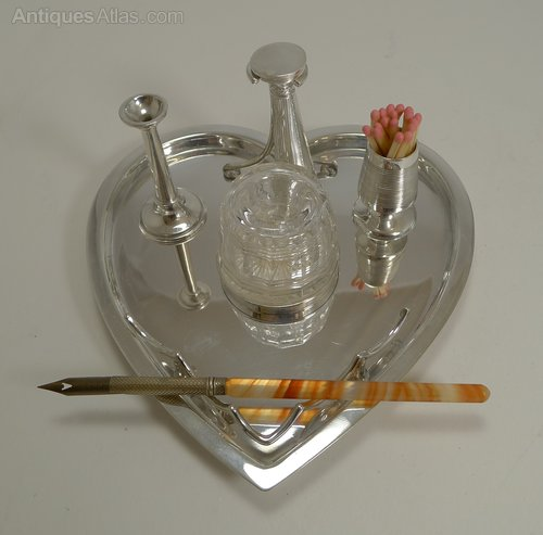 Antiques Atlas - Silver Plate Desk Set By Hukin And Heath C 1900