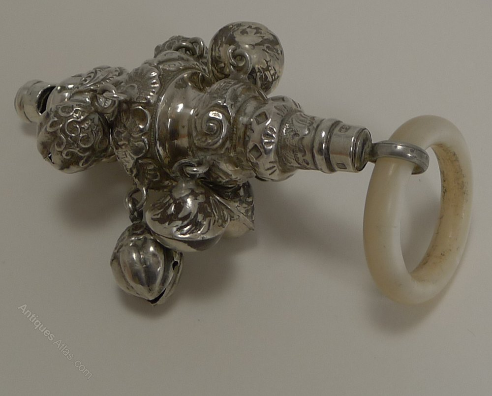 Antiques Atlas Silver Amp Mother Of Pearl Baby Rattle 1881