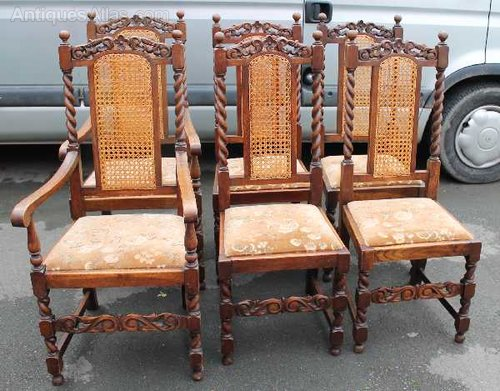 Bon 1900s Set 6 Oak Barley Twist Dining Chairs ...