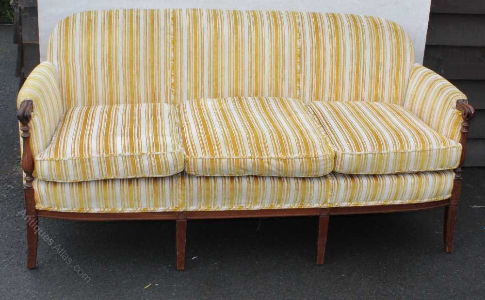 1920s Mahogany Framed With Spindles Gold Striped Sofa ...