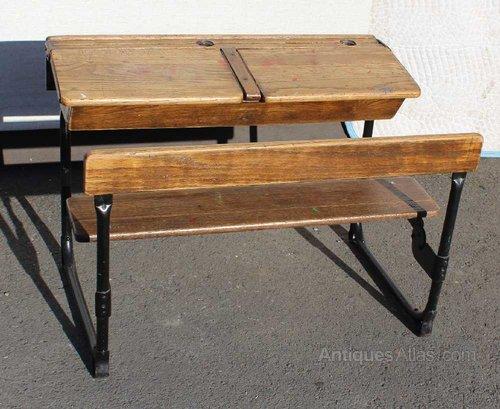 Wondrous 1920S Oak Double School Desk And Bench Seat Antiques Atlas Interior Design Ideas Ghosoteloinfo