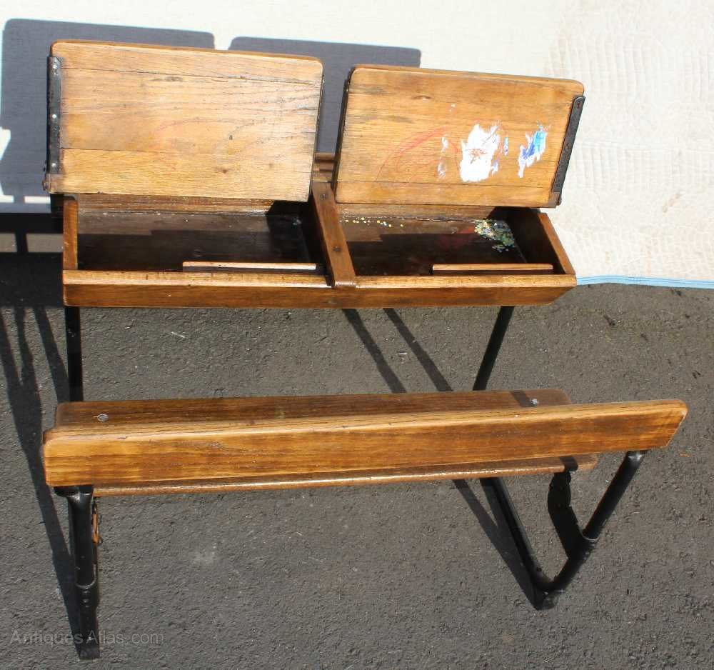1920s Oak Double School Desk and Bench seat Antique School Desks ... - 1920's Oak Double School Desk And Bench Seat - Antiques Atlas