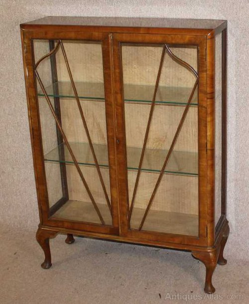 1940s 2 Door Walnut Decco Style China Cabinet Antique Display Cabinets