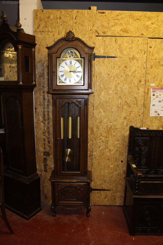 Antiques Atlas - 1940s Oak 3 X Brass Weight Grandfather Clock