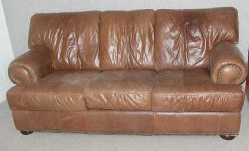 1960s 3 Seater Soft Brown Leather Sofa