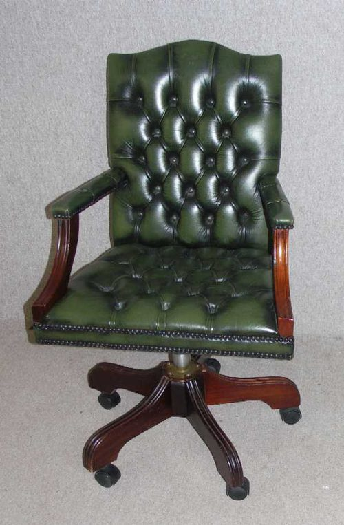 1960s Green Leather Office Chair