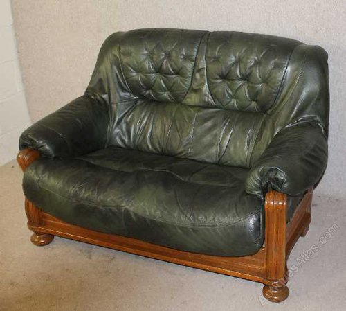 Antiques Atlas 2x 2 Seater Green Leather Sofas On Solid