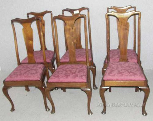 6 Mahogany High Back Queen Anne Dining Chairs Set of 6 Antique ... - 6 Mahogany High Back Queen Anne Dining Chairs - Antiques Atlas