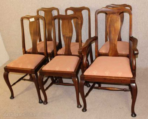 6 Mahogany Queen Anne High Back Dining, Queen Anne Mahogany Dining Chairs