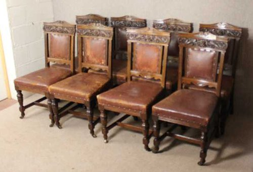 Antiques Atlas 8 Carved Oak Dining Chairs Brown Leather