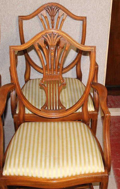 Antiques Atlas 8 Walnut Wheatsheaf Back Dining Chairs