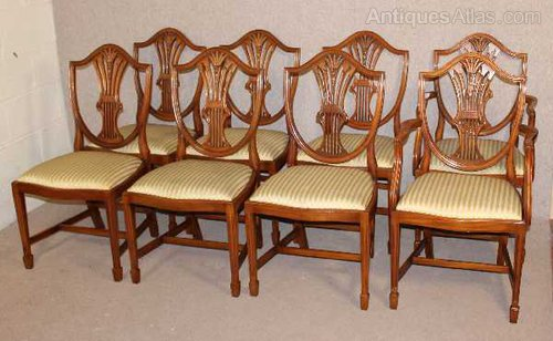 Antiques Atlas 8 Walnut Wheatsheaf Back Dining Chairs