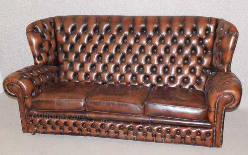 Antiques Atlas Brown Chesterfield Style High Back 3 Seater Sofa
