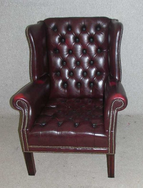 Burgundy Leather Chesterfield Highback Chair Chairs