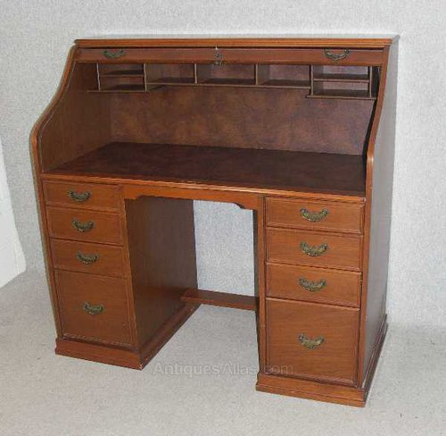 Cedar Wood Roll Top Desk Vintage