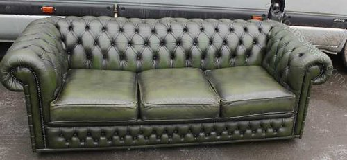 Antiques Atlas Dark Green Chesterfield 3 Seater Leather Sofa