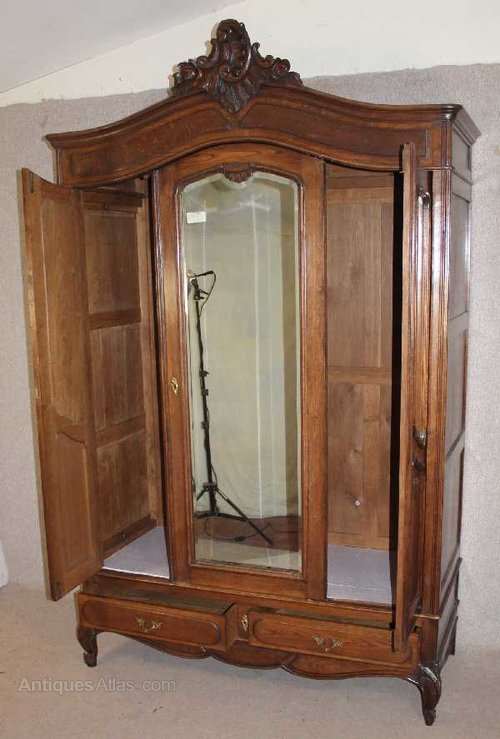 Antiques Atlas French Louis Xv Style Oak 3 Door Mirrored Armoire