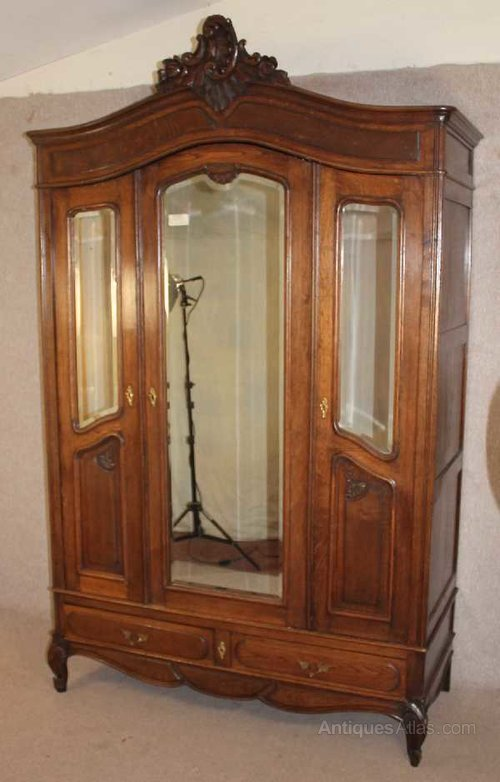 French Louis XV Style Oak 3 Door Mirrored Armoire ...
