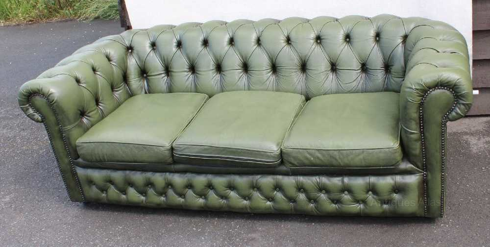 Antiques Atlas 1960s Green Chesterfield 3 Seater Leather Sofa