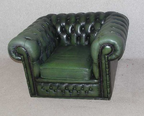 Surprising Antiques Atlas Green Leather Chesterfield Tub Chair Gmtry Best Dining Table And Chair Ideas Images Gmtryco
