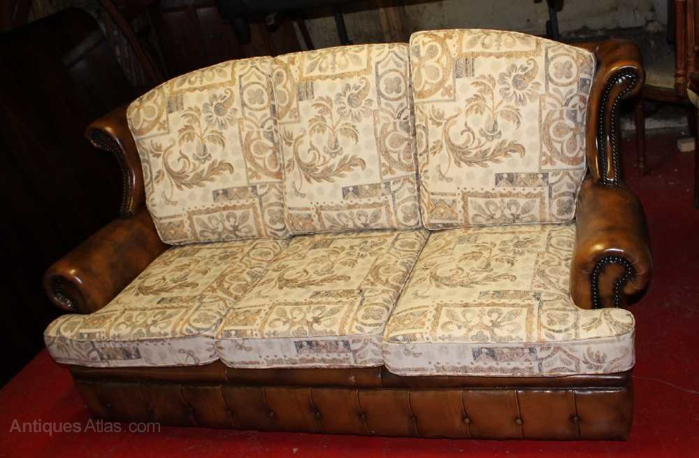 1960s 3 X Seater Brown Leather Sofa With Upholster ...