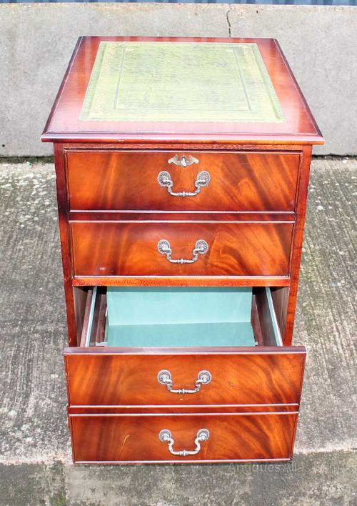 Large Mahogany Filing Cabinet, Green Leather Top Vintage And Retro Filing  Cabinets