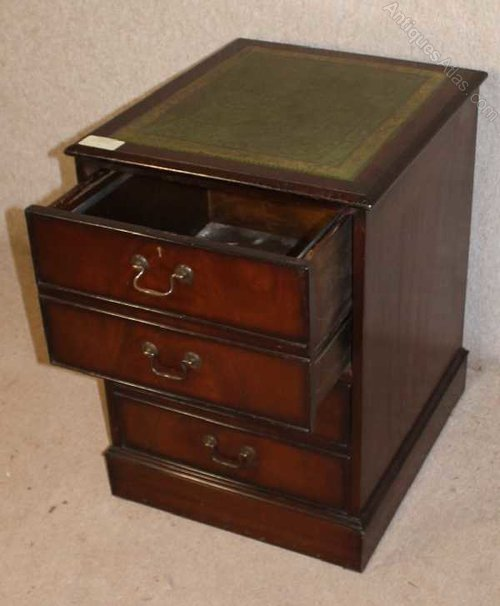 Mahogany Filing Cabinet With Green Leather Top ...