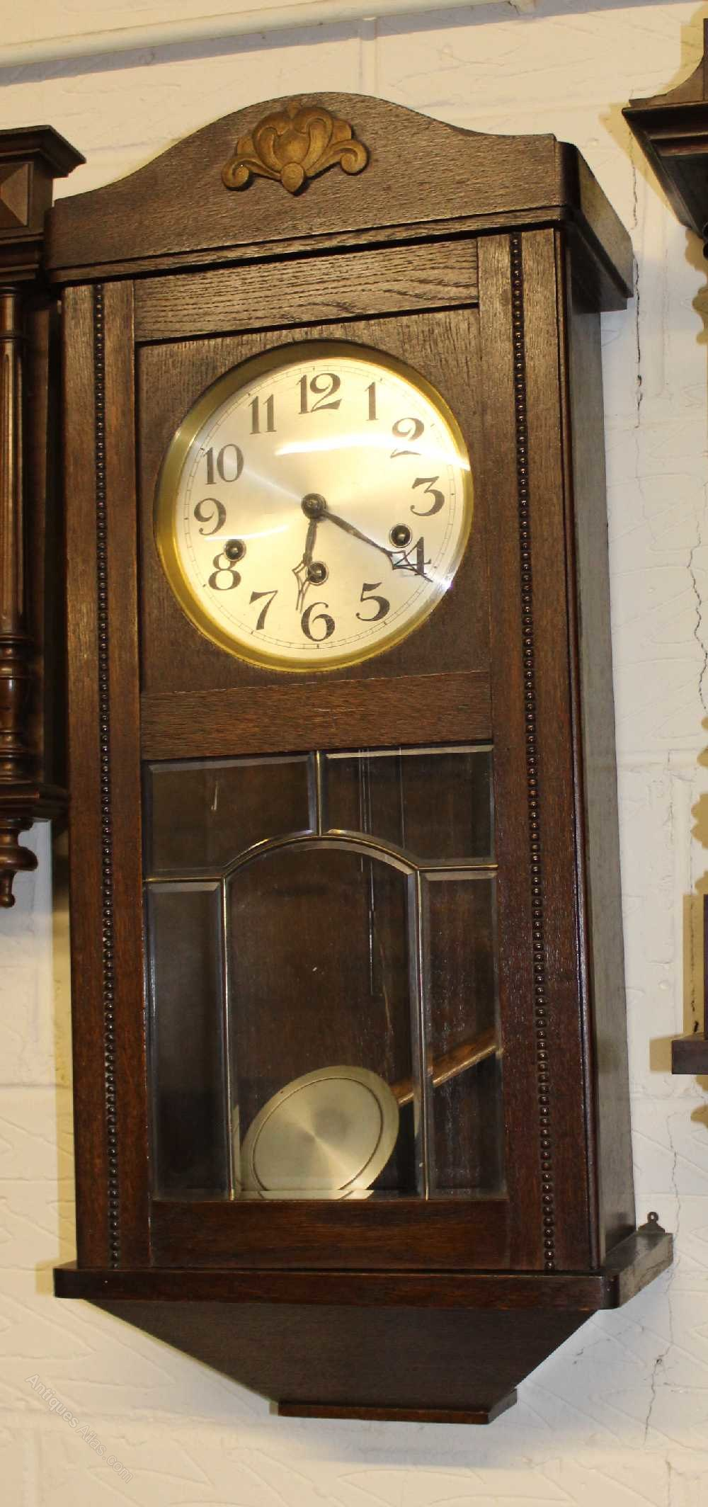 Antiques Atlas Medium Oak Wall Clock With Nice Clear Face