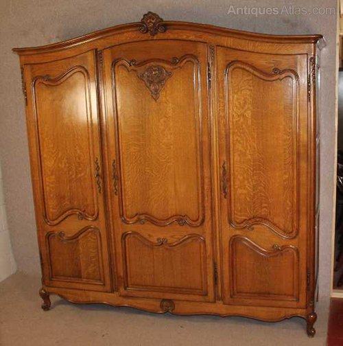 Oak Louis XV Style 3 Door Armoire ...