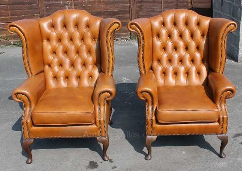 Antiques Atlas Pair Of Tan Leather Button Back Wing Armchairs