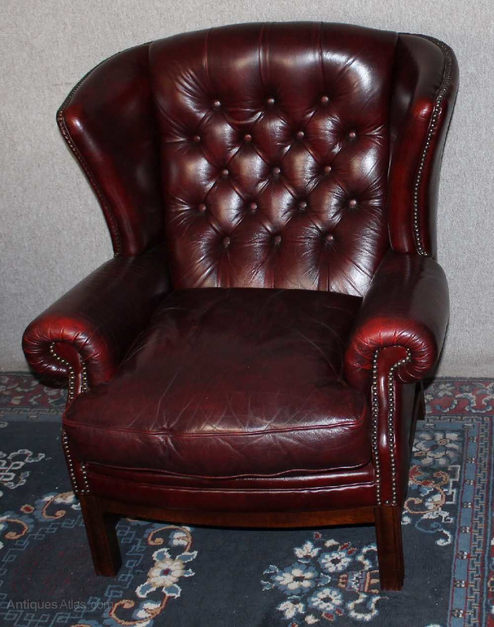 Antiques Atlas - 1960s Red Burgundy Leather Wing Armchair