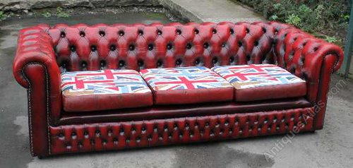 Antiques Atlas Red Chesterfield 4 Seater Leather Sofa Union Jack
