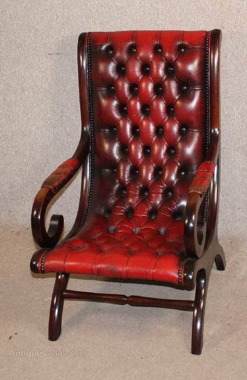 Red Chesterfield Style Leather Slipper Chair Leather Chairs