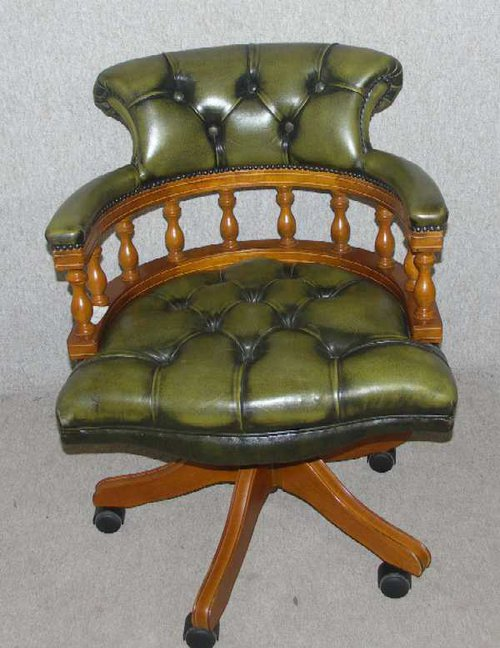 Green Leather Captains revolving Chair - Antiques Atlas - Green Leather Captains Revolving Chair