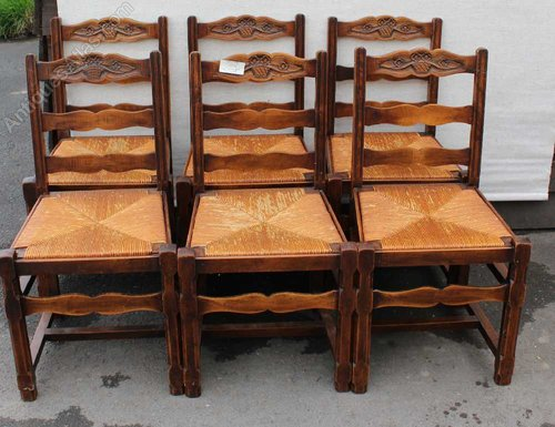 1920s Set 6 Oak Carved Low Back Dining Chairs