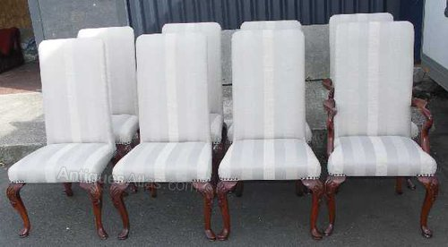 Set 8 Mahogany High Back Dining Chairs