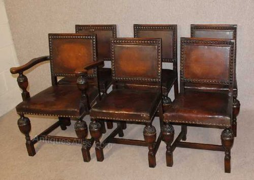 Set of 6 Carved Oak Dining Chairs, leather seats Vintage ... - Antiques Atlas - Set Of 6 Carved Oak Dining Chairs, Leather Seats