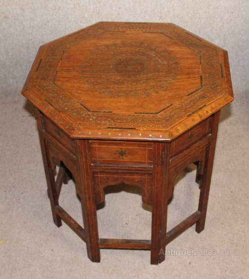 Antiques Atlas Small Hexagonal Coffee Table With Brass Inlay
