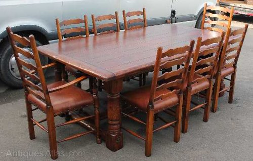 Solid Oak Refectory Table With 8 Ladderback Chairs