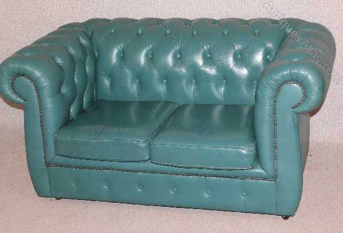 Antiques Atlas - Turquoise Chesterfield 2 Seater Leather Sofa