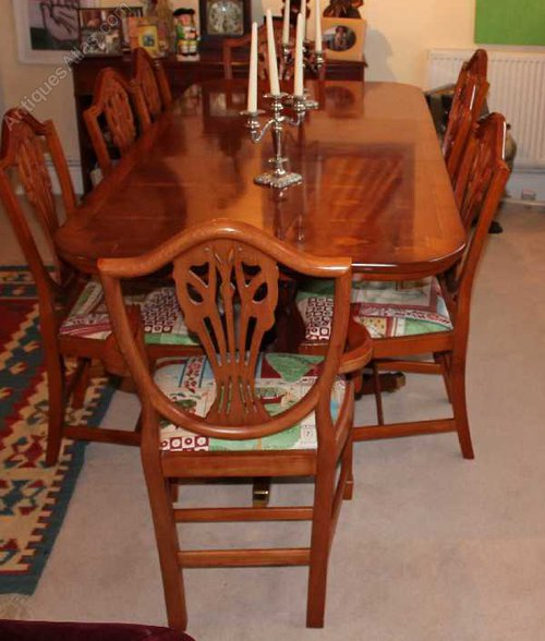 Yew D End Table And 8 Wheatsheaf Style Chairs Midcentury Retro Vintage Dining Suites