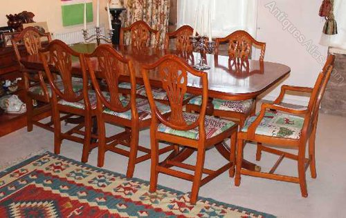 Yew D End Table And 8 Wheatsheaf Style Chairs