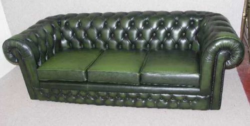 Antiques Atlas Bottle Green 3 Seater Chesterfield Settee