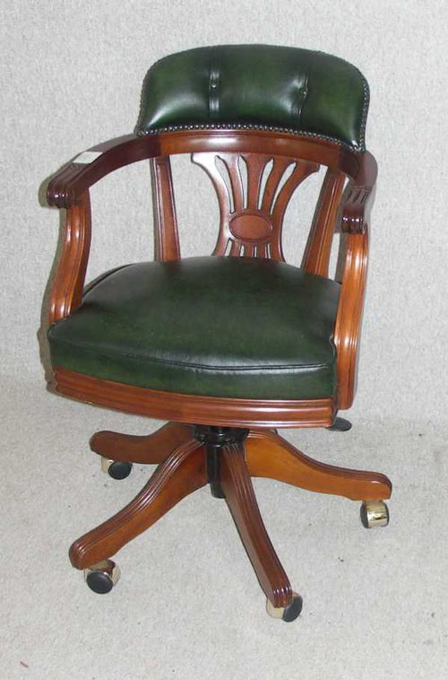 Gentil Green Leather Revolving Office Chair