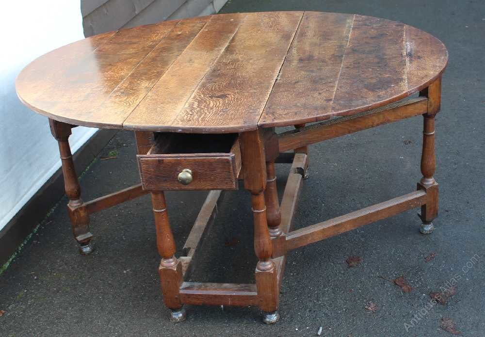 Old oak gateleg table with drawer antiques atlas - Gateleg table with drawers ...