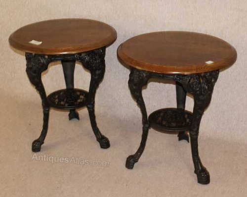 Pub Tables With Cast Iron Baseahogany Top
