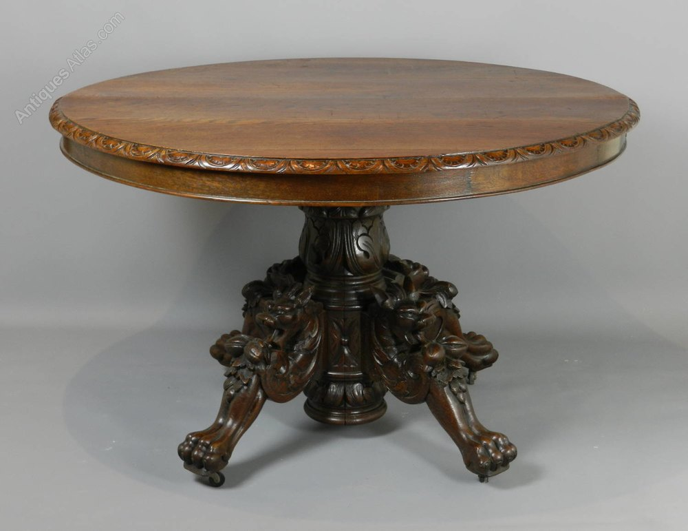 Antique French Carved Oak Hunt Table C1870 - Antiques Atlas
